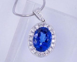 7 Carat Tanzanite Diamond Pendant
